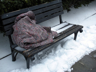 Blanket on a bench