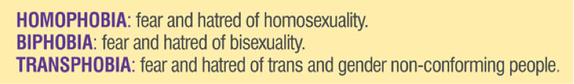 Homophobia: Fear and hatred of homosexuality; Biphobia: Fear and hatred of bisexuality; Transphobia: Fear and hatred of trans and gender non-conforming people