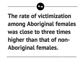 The rate of victimization among Aboriginal females was close to three times higher than that of non-Aboriginal females.