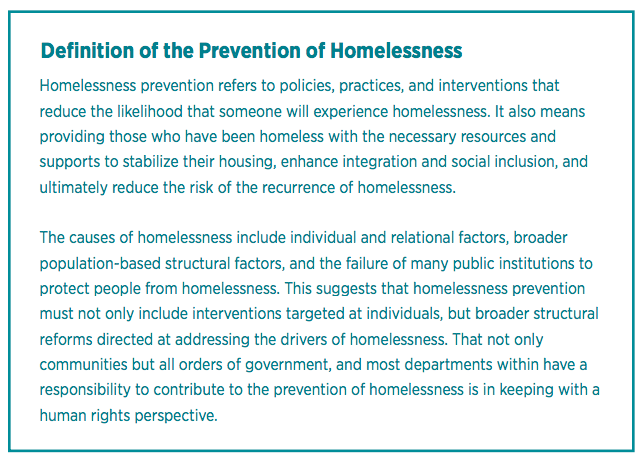 definition of homelessness prevention