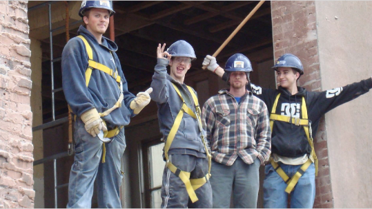 Train for Trades youth on the job