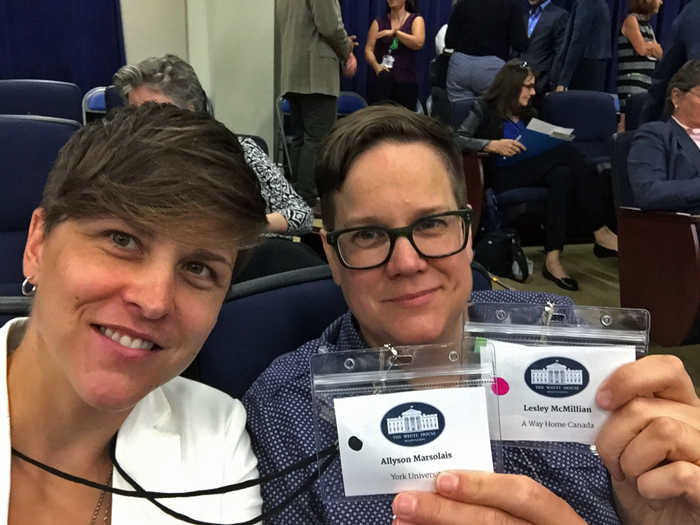 A photo of Allyson Marsolais and Lesley McMillan at the White House.