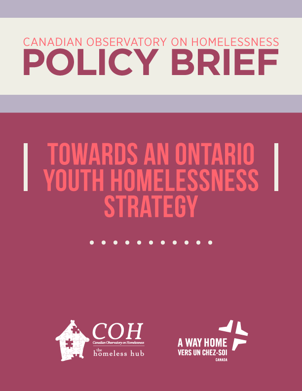 Download the policy brief at http://www.homelesshub.ca/ONyouthhomeless