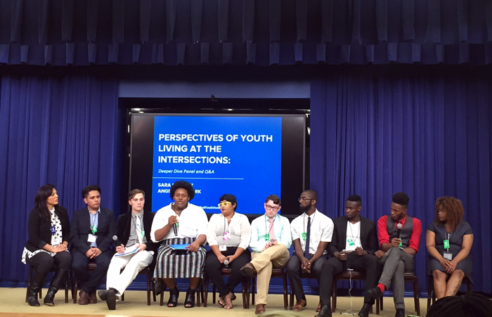 "Seven youth sharing their experiences in the ""Intersectionality: Identities, Experiences, and Solutions"" session."