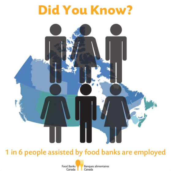 food banks Canada infographic: 1 in 6 people assisted by food banks are employed