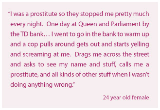 I was a prostitute so they stopped me pretty much every night.