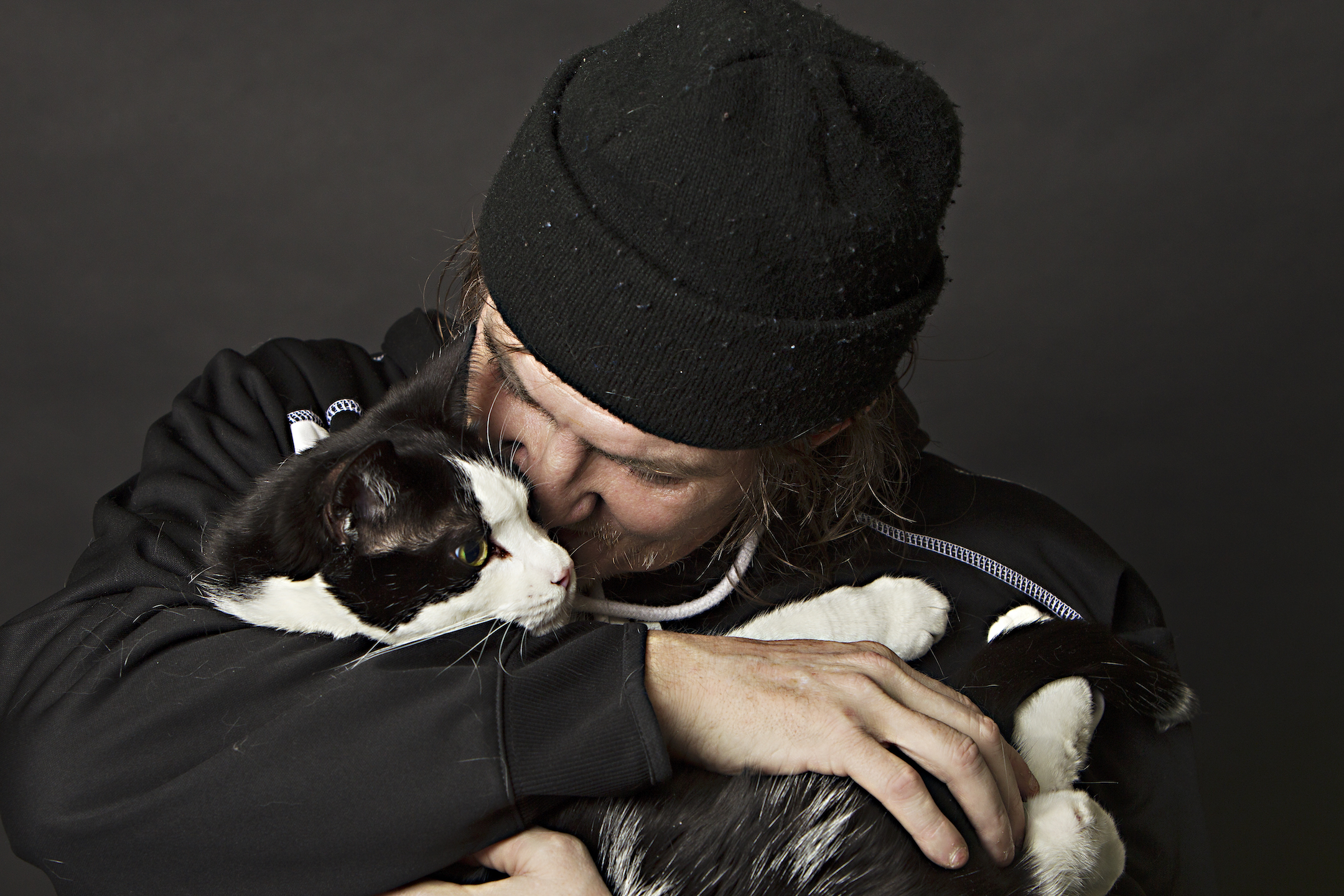 a cat with its owner