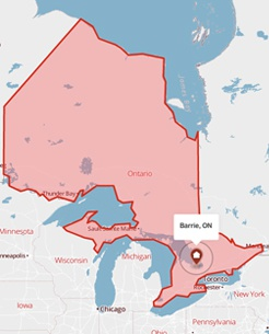Barrie, Ontario on a map