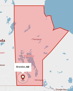 Brandon, Manitoba on the map
