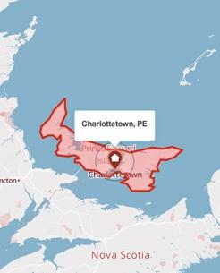 Charlottetown, Prince Edward Island on a map