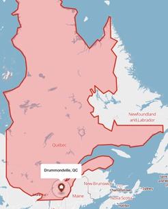Drummondville, Quebec on a map