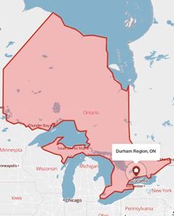 Durham Region, Ontario on a map