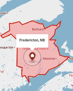 Fredericton, New Brunswick on a map