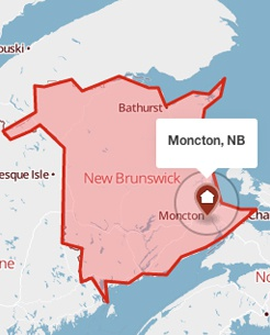 Moncton, New Brunswick on a map