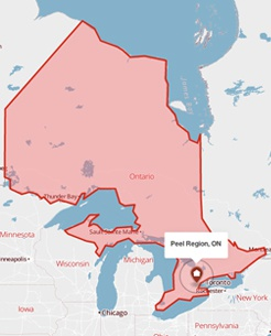 Peel Region, Ontario on a map