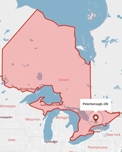Peterborough, Ontario on a map