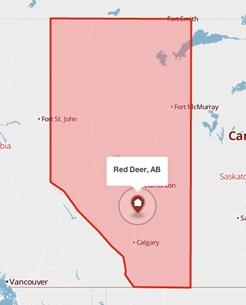 Red Deer, Alberta on a map