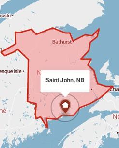 Saint John, New Brunswick on a map