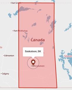 Saskatoon, Saskatchewan on a map