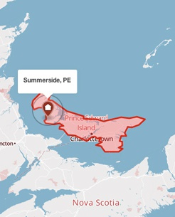 Summerside, Prince Edward Island on a map