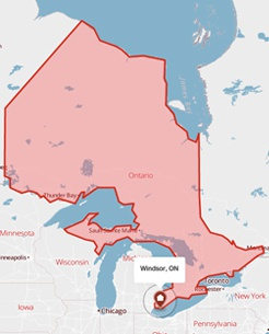 Windsor, Ontario on a map
