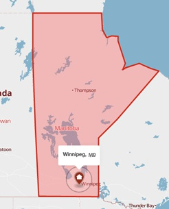 Winnipeg, Manitoba on the map